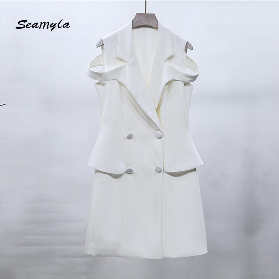Großhandel Seamyla Neue Art Und Weise Sleeveless Jacken Kleid Frauen ...