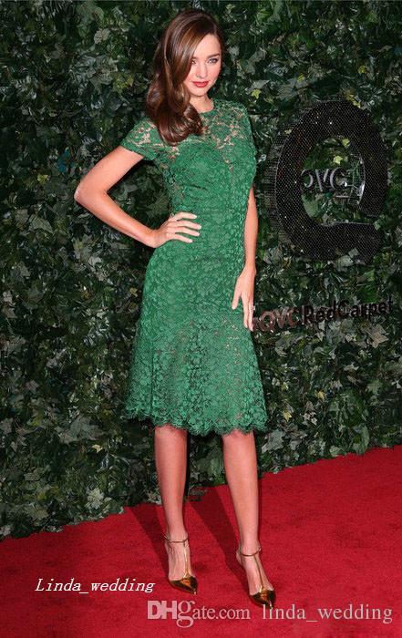 Бесплатная доставка зеленый миранда керр вечернее платье новое кружево длиной до колен короткое вечернее платье Celeybrity платье