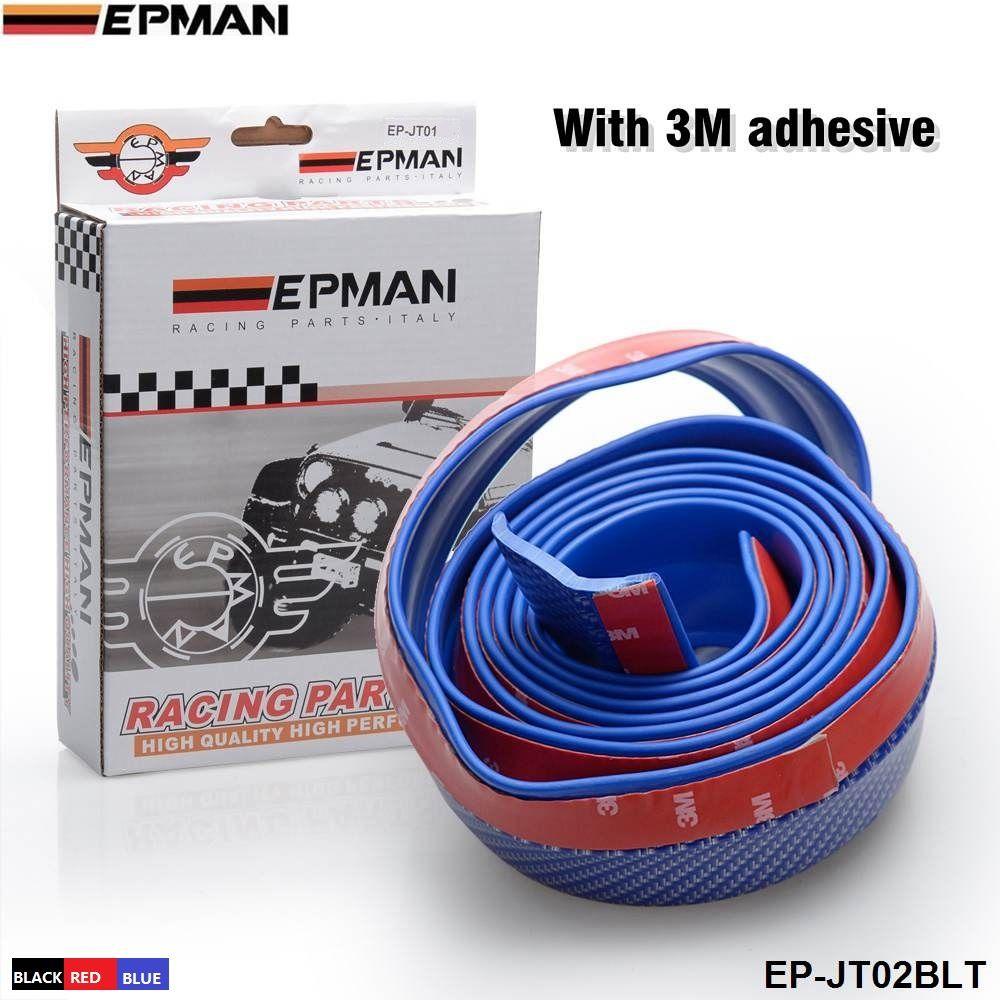 EPMAN -Rubber Soft Fibre de carbone / anti-choc Pare-chocs en caoutchouc Strip Car 2.5m de long Kit pare-lèvres avant extérieur / Pare-chocs de voiture EP-JT01 / EP-JT02