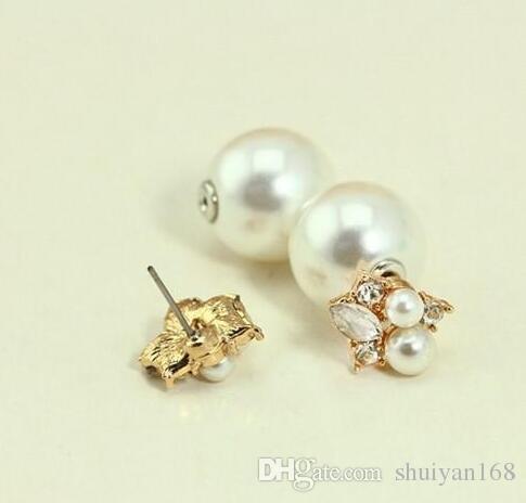 Серьги с жемчугом Серьги-гвоздики с двумя бриллиантами и двумя шариками для женщин Серьги с хрустальными украшениями на продажу