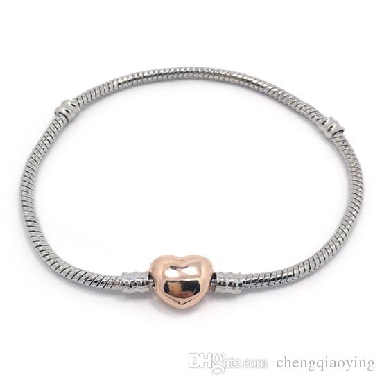 Marka Yeni Yüksek Kalite 100% Plateinum Kaplama Yılan Zincir 100% 24 K Altın Kaplama Kalp Şekli Toka Bilezik Fit Moda Pandora Bilezik DIY