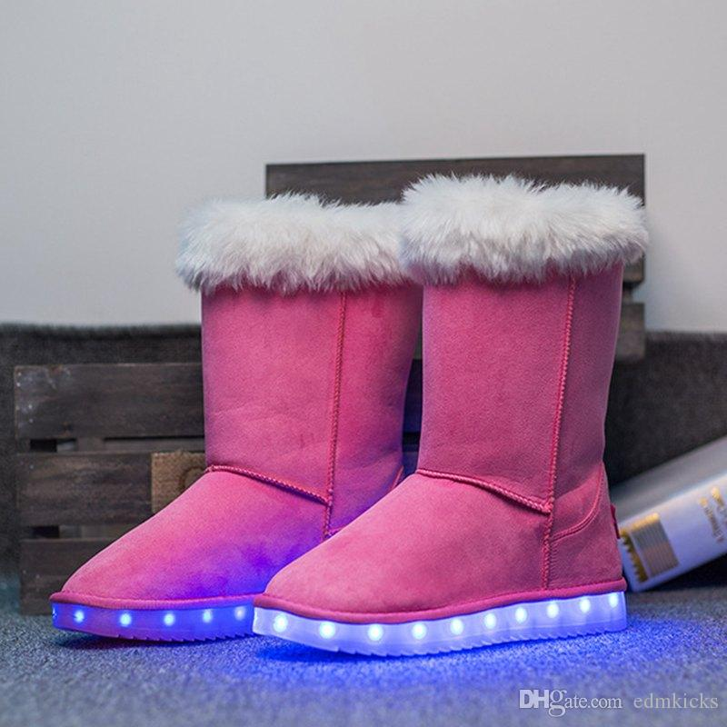 Suede Leather Snow Boots LED Light Up Shoes USB Charging
