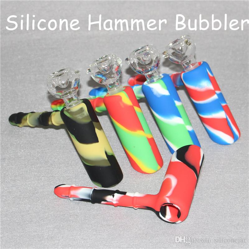 Hammer Silicone Water Bongs Hookahs 18.8mm Joint Smoking Bubbler Percolator Double Recycler Showerhead Oil Rig with Glass Bowl DHL