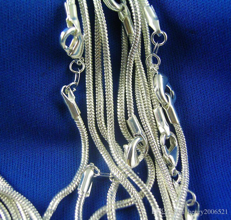 Großverkauf verlost -Sterlingsilber 1mm Schlangenkette Halskette 16inch-24inch