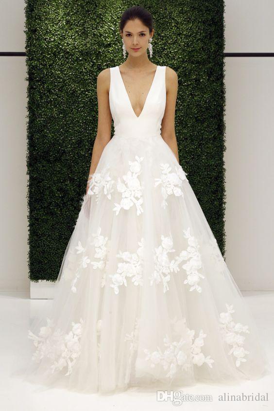 9315f61f0e7ea White 3D-Floral Appliques Wedding Dresses 2017 Designed Deep V Neck A Line  Tulle Modest 2016 Bridal Gowns vestidos de Novia