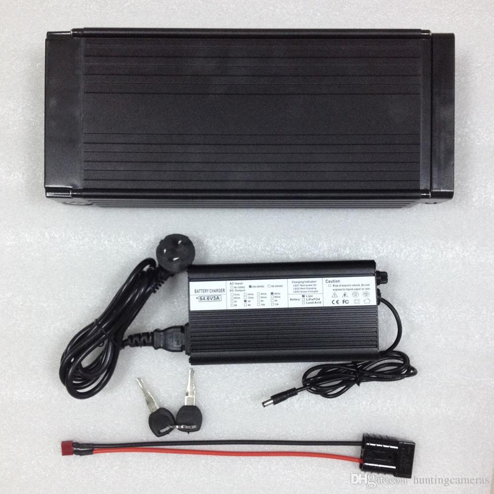 Бесплатная доставка большой емкости электрический велосипед батареи 48 в 20Ah литиевая батарея 1000 Вт / задняя стойка батареи с BMS 54.6 V 2a зарядное устройство