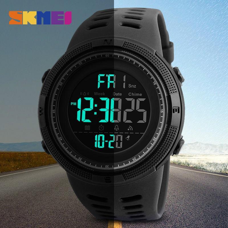 9c4fa36dd53 SKMEI 1251 Mens Relógios de Luxo Esporte Exército Ao Ar Livre 50 m À Prova D   Água Relógio Digital Militar Homens Casuais Relógio de Pulso Relogio  Masculin
