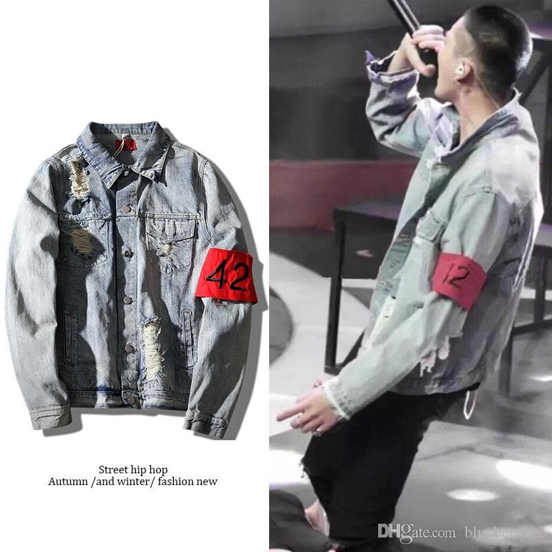 Holes 424 Armband Hip Hop Jacket denim jacket washing do old damaging Big broken men Jackets