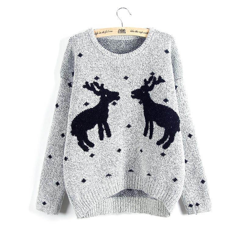 En gros livraison gratuite Hiver Et De Noël Femmes Renne Chandail Femme Cerf De Mode Épaissir Pulls Dame Tricoté En Coton Chandails