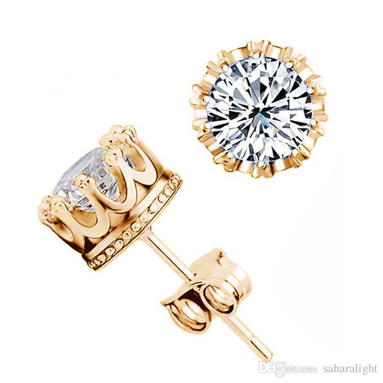 Wholesale Fashion Crown 18k Gold Plated Earrings Women Brincos De Prata Men Cubic Zirconia Crystal Jewerly Double Stud Earing