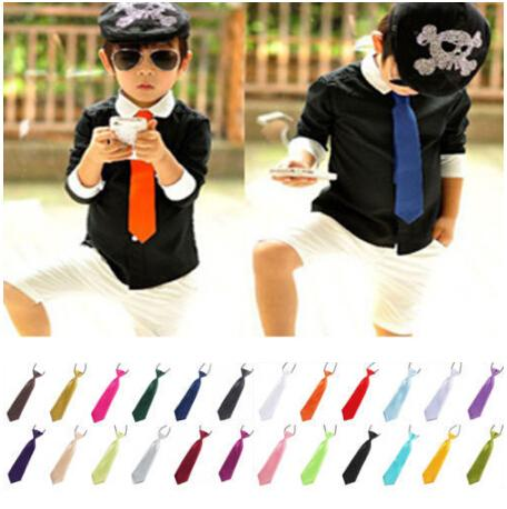 Childrens Boys Adjustable Neck Tie Satin elastic Necktie High Quality Solid tie Clothing Accessories