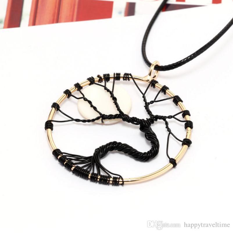 Encantos Preto Alloy Wire Enrole Bent Tree of Life White Moon couro cordão pingente colar de encantos Jóias