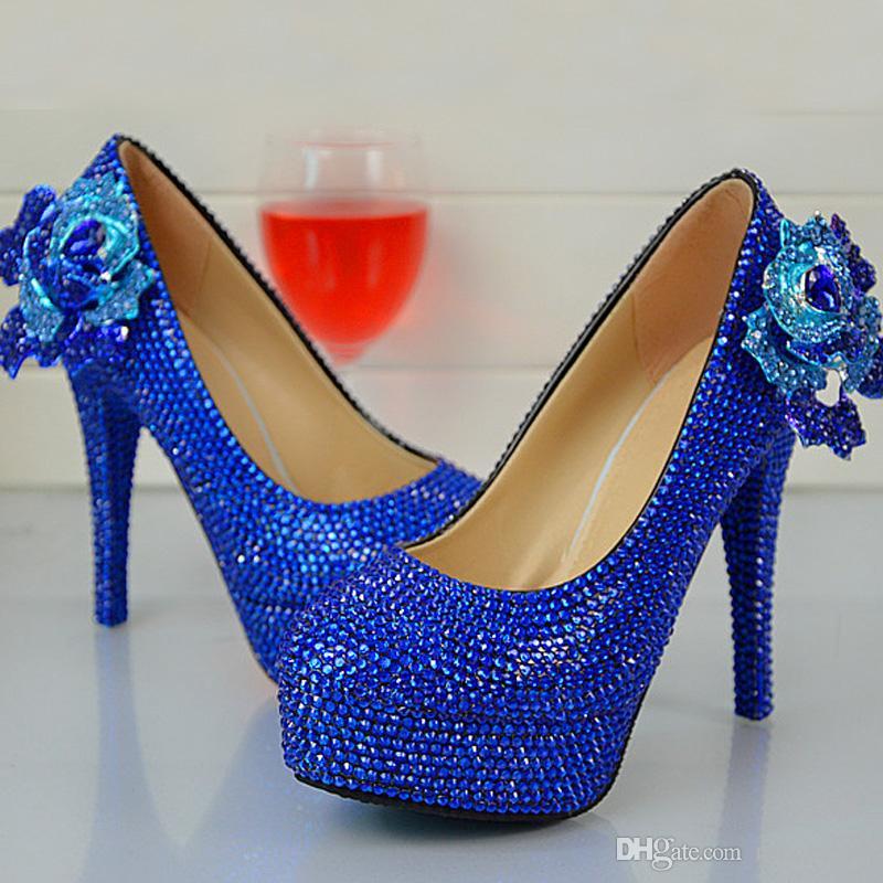 La main de mode Royle bleu strass chaussures de mariage ronde Slip-on talon haut Toe Stilettos Prom Party Pompes Plus Size 12