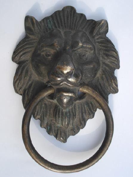 En gros Chinois Bronze Fierce Lion Tête Heurtoir de Porte 4.4