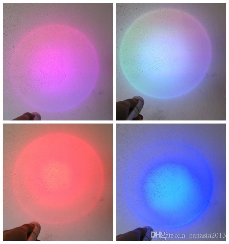 Nouvelle arrivée LED RGB couleur changeant torche lampe de poche, 3W en alliage d'aluminium RVB Edison Multi couleur led lampe de poche arc en ciel de couleurs Flash