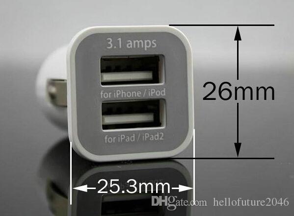 hochwertige schwarz weiß USAMS 3.1A Doppel-USB-Ports Kfz-Ladegerät-Adapter Universal für iPhone Tablet PC iPhone Samsung HTC Dual Ports Ladegerät