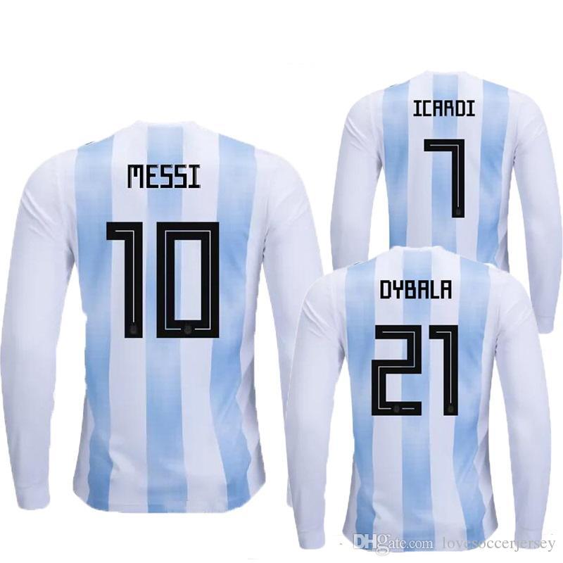 783b4ed9624 2019 Long Sleeve 17 18 Argentina Soccer Jerseys MESSI 2018 World Cup  Argentina Football Shirt DYBALA DI MARIA Camiseta BIGLIA ICARDI Maillot  Foot From ...