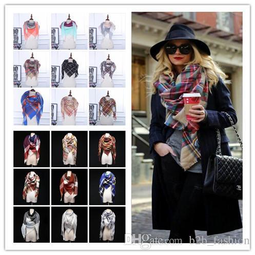 9d0e09ed24 Winter Scarf Tartan Cashmere Scarf Women Plaid Blanket Scarf New ...