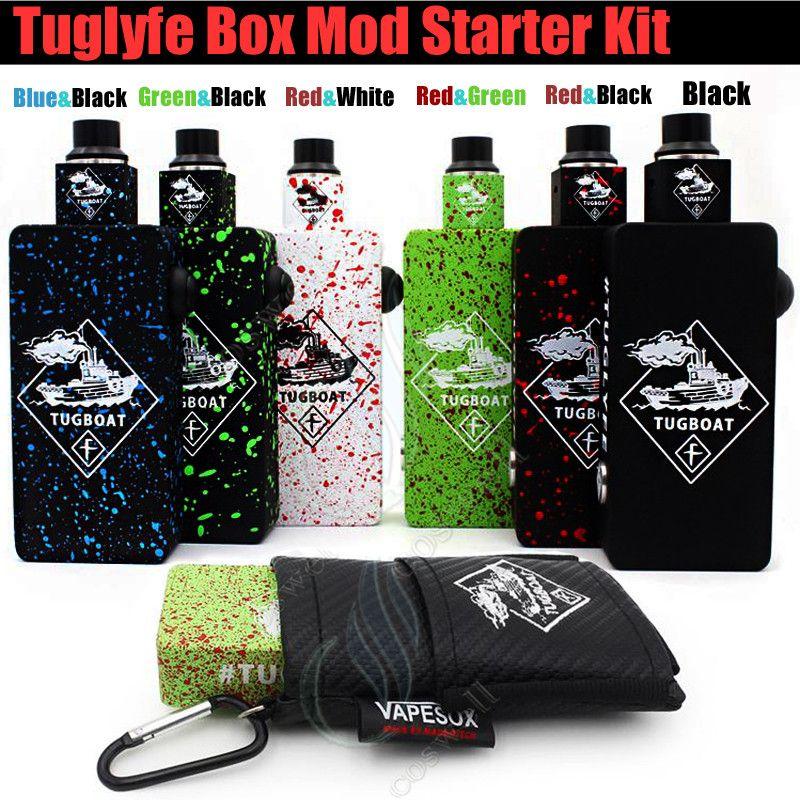 Top quality Tug boat Box Mod Start Kit Tuglyfe Unregulated Tugboat Aluminum Body RDA Atomizer vapor Mods vape pen e cig cigarettes kits DHL