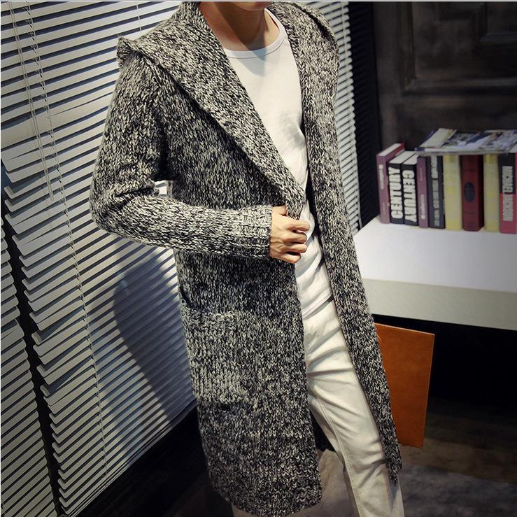 2017 Männer in der koreanischen Strickjacke lange mit Kapuze Pullover Mantel Größe Verdickung Mann Paar Herren-Pullover