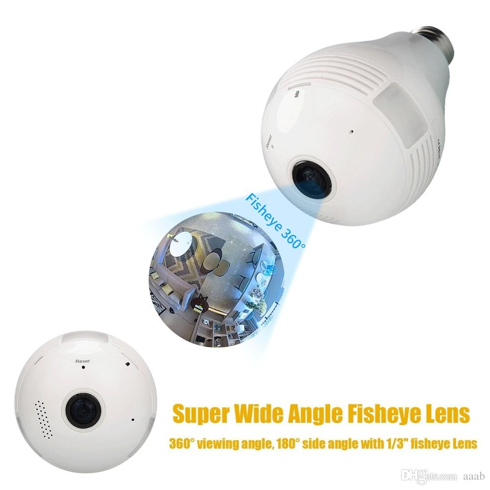 - 360 Degree Fisheye Panoramic WiFi P2P Network IP Camera Bulb Light Network CCTV Camera Home Security System 960P