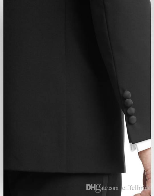 Herfst 2017 nieuwste formele herenpakken westerse stijl piek revers tweedelig zwart op maat gemaakte groomsmen pakken smoking