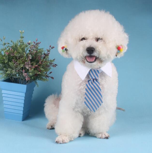 Umweltfreundlich Hund gestreifte Krawatte Kragen Katze Bogen Netter Hund Krawatte Hochzeit Adjustable Welpen rot / blau / Khaki