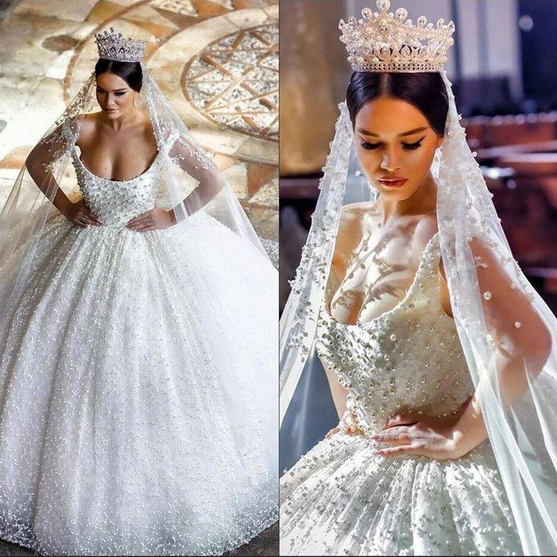 Luxury Heavy Pearls Arabic Wedding Dresses 2017 Ball Gown Scoop Plus Size Puffy Skirt Muslim Dubai Classic Women Bridal Gowns Robe De Mariee Pretty