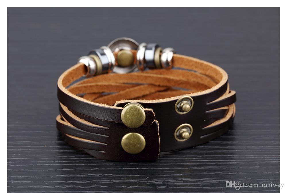 Coole Vintage Tribe breites Lederarmband Multilayer Manschette Armband Armreif echtes Leder Kette Seil Punk Rock