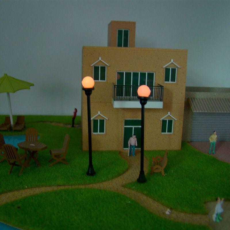 / set 모델 정원 램프 내구성 6V 1W 가로등 HO Scale 1 : 100 단일 머리 모델 전등 및 전구 가로 조명
