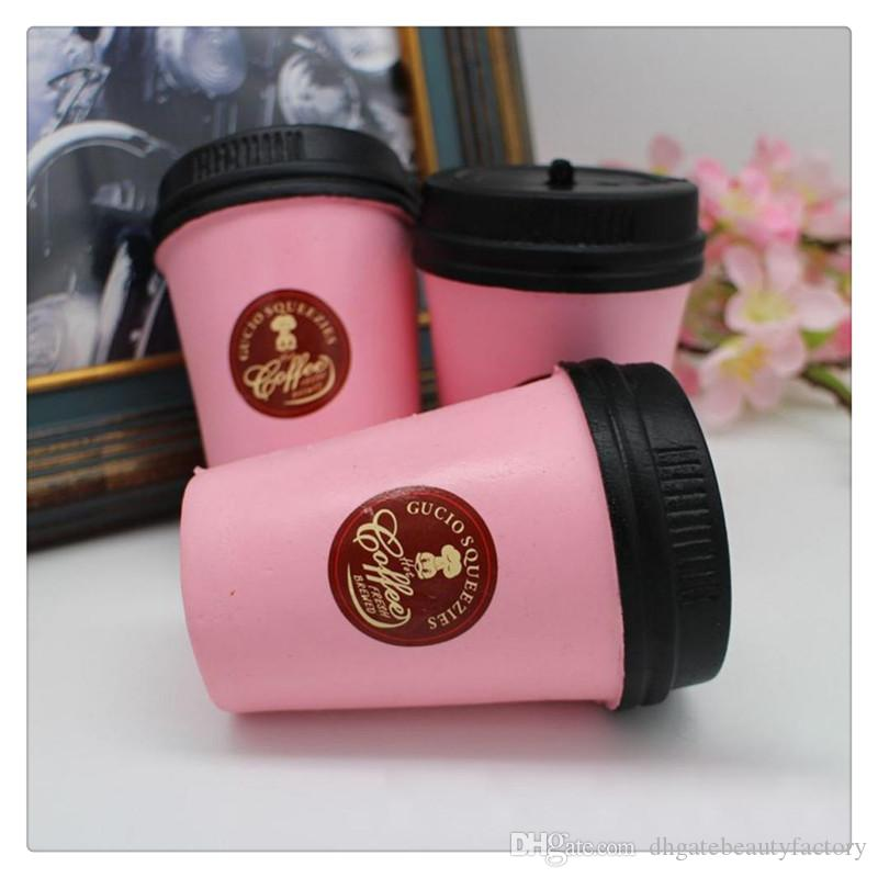 Squishy Coffee Cup Slow Rising Jumbo Phone Strap Kawaii Squishies Pendant Soft Stretchy Cake Kids Fun Toy Gift KeyChains