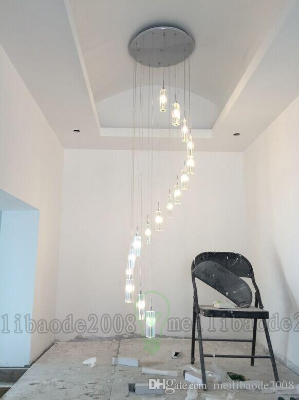 K9 Crystal Rod Spiral Ceiling Light Modern Creative LED Loft Chandelier Living Room Hotel Bar Light Fixture Chandelier Light MYY69