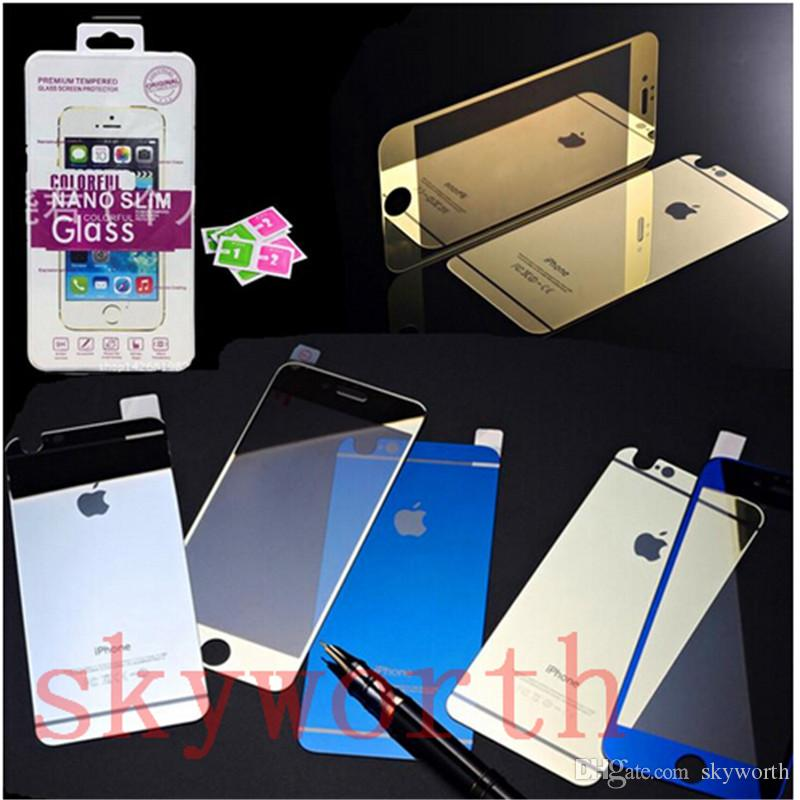 Front + Back Tempered Glass Screen Protector Colorful Mirror Treated Tinted  Glass Film For Iphone 6 6S Plus 6Plus 5.5 5s 5 5SE Tempered Glass Screen ... dea8d7e243f1