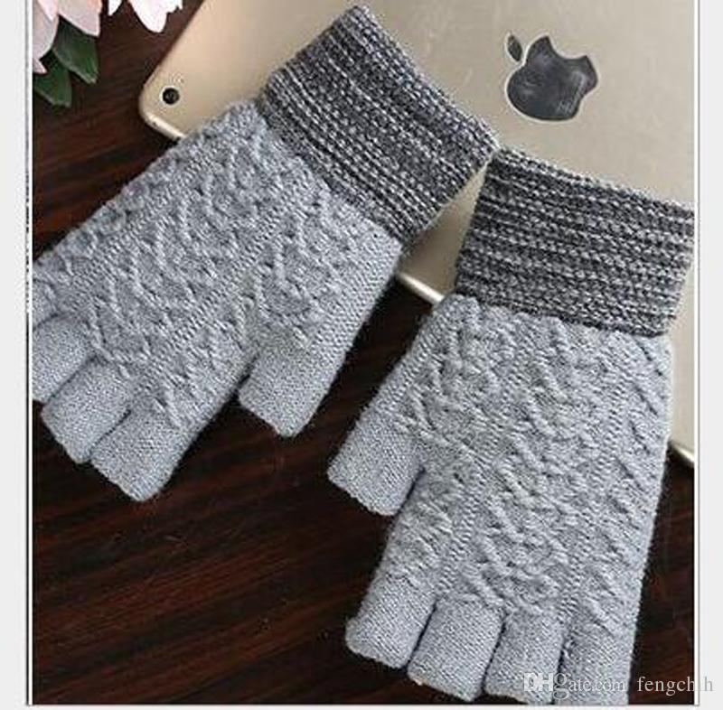 Men's knitted wool winter thickening warm half-exposed fingers refers to five fingers gloves students write keyboard typing wholesale