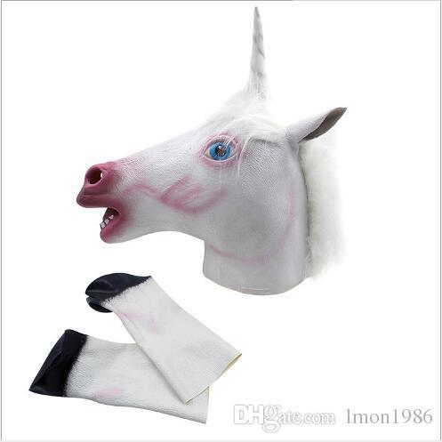 Livraison Gratuite Creepy Unicorn Horse Masque Tête Halloween Costume Theatre Prop Nouveauté Latex Caoutchouc Cheval Mask avec des gants de cheval jouets