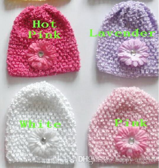100ピースの赤ちゃんワッフルかぎ針編み帽子髪の花クリップサニーソフト幼児ビーニー2