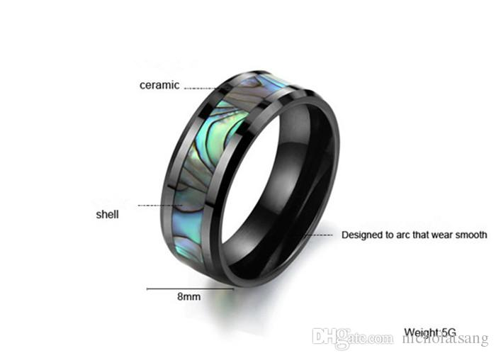 2016 Korean Jewelry Natural Shell Black Ceramic Ring Space Designer Jewelry Brands Shell Men Punk Rings Jewelry Wholesale