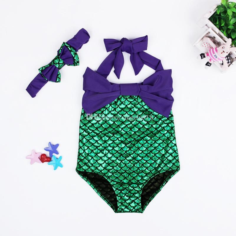 Bébé filles maillot de bain Hairband ensemble sirène maillot de bain costume filles sirène maillot de bain baignade maillot de bain