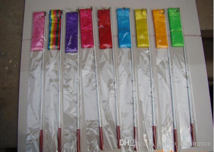 Nouveau 4M Gymnastique Ruban Coloré Gym Art Rythmique Ballet Danse Ruban Serpentin Bâton Tige De Coloration Multi Couleurs