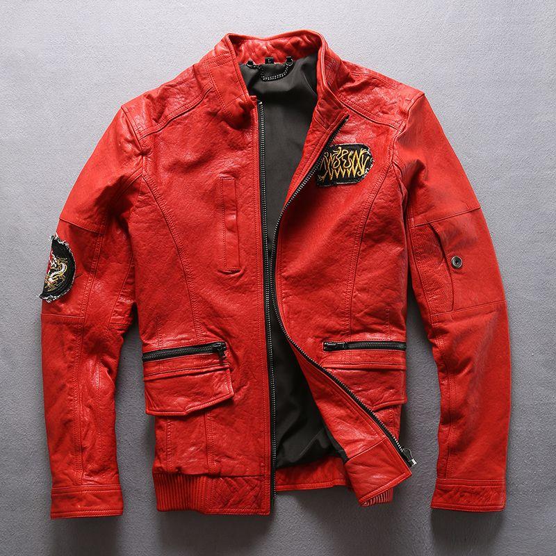 2 cores AVIREXFLY Flocking jaqueta de couro de pele de carneiro bordada Locomotiva homens jaqueta Slim fit collar motocicleta terno