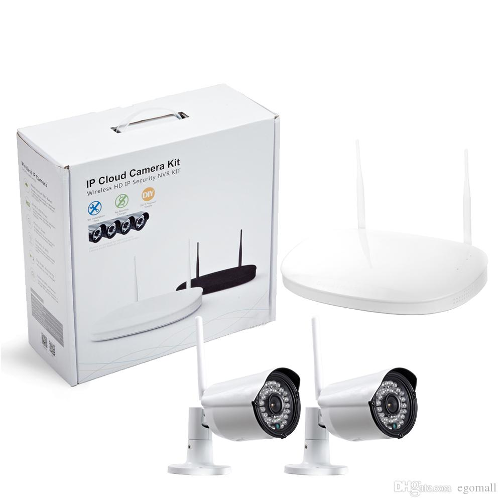 CCTV Kamera IP Kablosuz Wifi 4CH Açık HD 720 P NVR Sistemi 4 ADET 1MP IR Açık P2P IP Kamera Güvenlik Sistemi Gözetim Kiti
