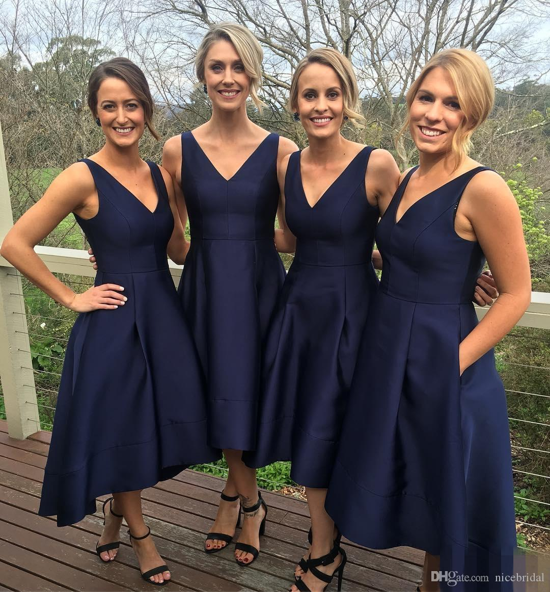 Navy blue satin bridesmaid dresses for wedding party girls high navy blue satin bridesmaid dresses for wedding party girls high low v neck summer beach garden simple cheap with pockets vestido madrinha bridesmaid dresses ombrellifo Image collections