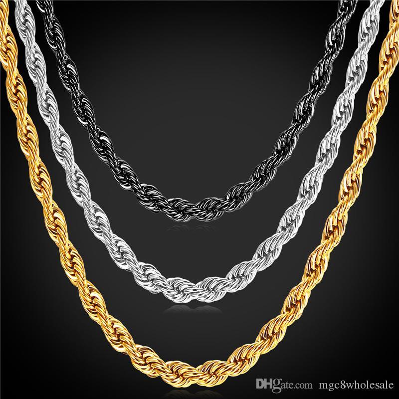 ea29d02fb853 Compre U7 Chapado En Oro Twist Chain Necklace Bracelet Moda 18 K Chapado En  Oro   Cadenas De Oro De Acero Inoxidable Para Hombre Regalos Perfectos  Collares ...