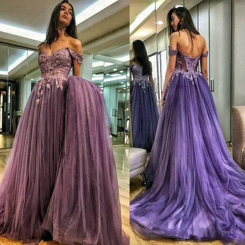Romantic Off Shoulders Purple Prom Dresses 2019 Sexy ...