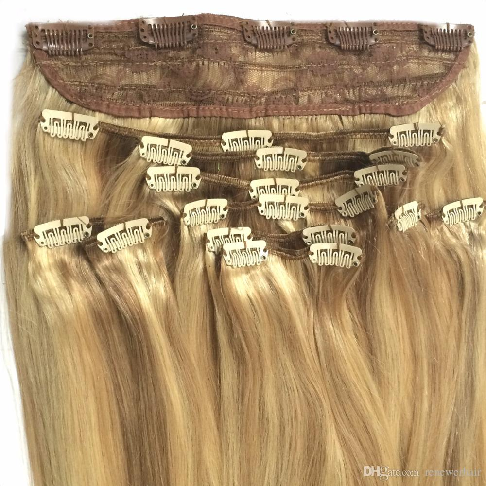 14 26 200g Best Quality Lace Quad Weft With Clip In Hair Ash Blonde