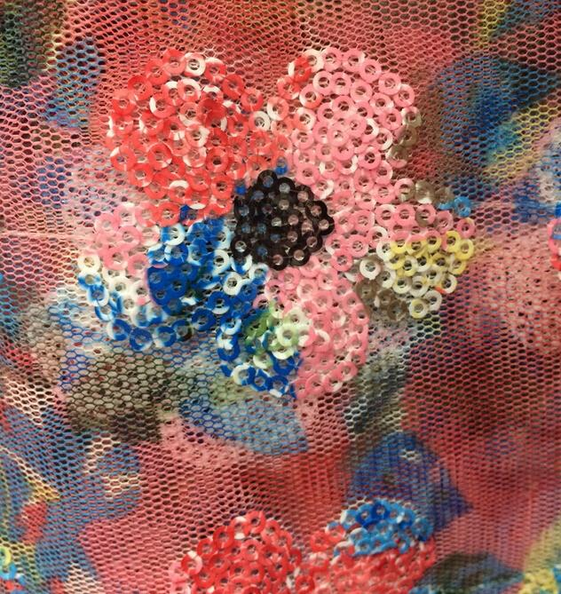 Embroidery Material Net Fabric With Sequence Syj 91041 African