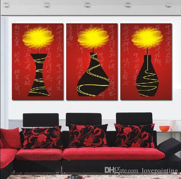 Unframed 3 Peças Frete Grátis imagem de arte em Cópias Da Lona Lavanda Dos Desenhos Animados flor lua Lótus Pena dandelion moinho de vento pote guindaste da árvore
