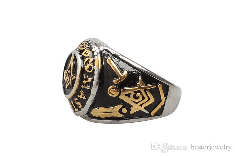 New Mens Gold Free Mason Freemasonry Masonic 316L Stainless Steel Band Ring Jewelry Men's Punk Ring