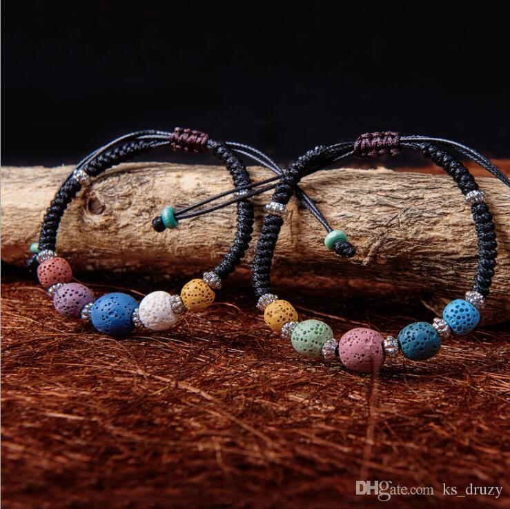 2 Styles Bohemian Colorized Natural Lava Stone Essential Oil Diffuser Bracelet Chromatic Aromthraphy Beads Bangle Women Jewelry