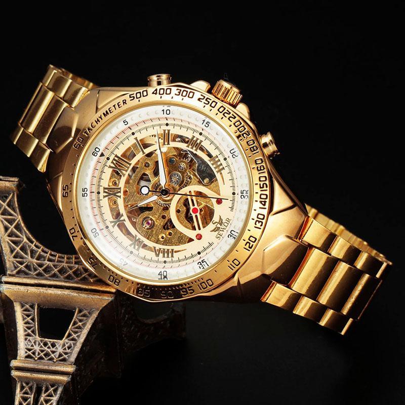 a55b56ad4d0 Compre Sewor Marca Relogio Automatico Masculino Esqueleto De Aço Inoxidável Relógios  Relógios Mens Moda Mecânica Relógios De Pulso S18 De Juancj